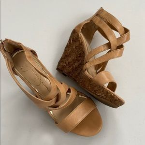 EUC Jessica Simpson leather wedge sandals